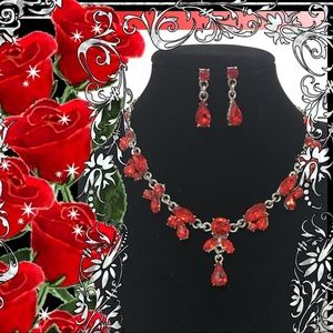 🍎RED ALMOND SHAPE AUSTRIAN CRYSTALS NECKLACE SET